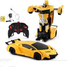 Xe ô tô biến hình thành Robot Tranformer điều khiển từ xa (pin sạc)