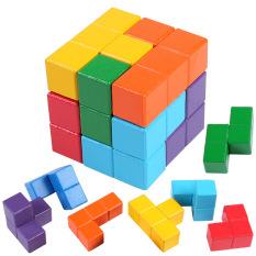 Đồ chơi xếp hình 3d, lắp ráp khối rubic, đồ chơi ghép hình bằng gỗ cho bé