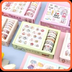 Hộp băng dính washi tape in hình cute dễ thương – Bộ sticker nhiều loại đẹp giá rẻ – Hình dán trang trí