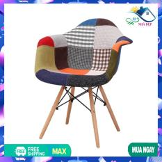 Ghế thổ cẩm chân gỗ sồi đan thép siêu sang, Ghế thuyền Eames thổ cẩm dành cho phòng làm việc , phòng ăn, quán cafe