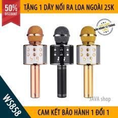 [XẢ HÀNG 3 NGÀY] Mic Hát Karaoke Bluetooth Không Dây WS858 – Kèm loa- Âm vang – Ấm – Tặng 1 dây nối ra loa ngoài 25K – mic hát karaoke cầm tay mini – micro hát trên xe hơi – mic hát karaoke hay nhất hiện nay