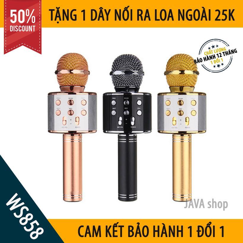 [XẢ HÀNG 3 NGÀY] Mic Hát Karaoke Bluetooth Không Dây WS858 - Âm vang - Ấm - Tặng 1 dây...