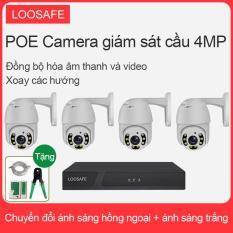 LOOSAFE bộ thiết bị POE Camera giám sát 4 kênh 4.0MP HD xoay PTZ ngoài trời