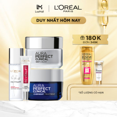 Bộ kem dưỡng trắng da mờ thâm nám White Perfect Clinical ngày & đêm kèm siêu serum cấp ẩm sáng da tức thì HA 7.5ml & dưỡng chất căng mướt da Crystal Micro-Essence 22ml