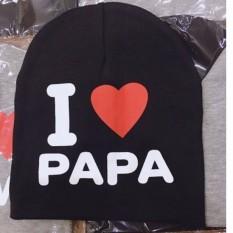 MŨ I LOVE PAPA I LOVE MAMA CHÙM ĐẦU THỜI TRANG, GIỮ ẤM CHO BÉ