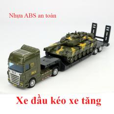 Xe mô hình đồ chơi xe đầu kéo xe tăng (gồm 2 xe) nhựa ABS an toàn, kích thước lớn, chi tiết sắc sảo, đẹp