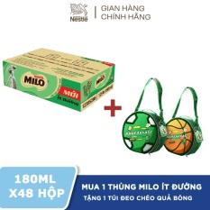 [Tặng 1 túi đeo chéo Quả Bóng Milo] Thùng 48 hộp Nestlé MILO ít đường – 12 lốc x 4 hộp x 180ml.