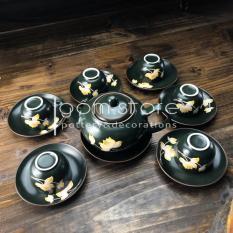 Bộ ấm chén Bát Tràng vẽ chìm hoa sen dáng bưởi (bộ ấm trà trên ko kèm khay trong hình)