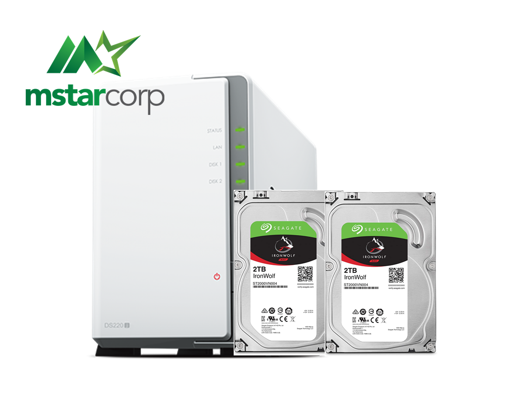 Combo Synology NAS DS220j và HDD Seagate ironwolf
