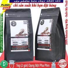 1kg cà phê rang mộc DUC ANH COFFEE – Thành phần 100% Robusta – 2 gói zipper mỗi gói 500gr – Dạng bột dùng pha phin – cam kết nguyên chất