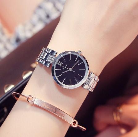Đồng hồ nữ KIMIO K6133X bạc mặt xanh đen