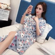 Đầm nữ – Áo choàng nữ mặc nhà đáng yêu – Họa tiết Thỏ xám DN023