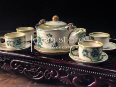 Bộ ấm trà dáng trúc Bát Tràng vẽ tay chén lớn