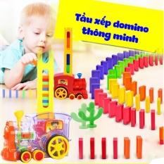 Đồ chơi Tàu hoả xếp domino cho bé [HOT SALE] mẫu mới, an toàn, thú vị TẶNG KÈM PIN VÀ SMILE TINH QUÁI