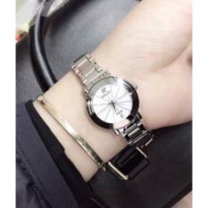 đồng hồ nữ halei dây bạc mặt trắng đính đá đẹp lung linh