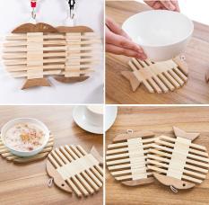 Rế lót nồi – cà phê – cách nhiệt bằng gỗ hình cá và táo