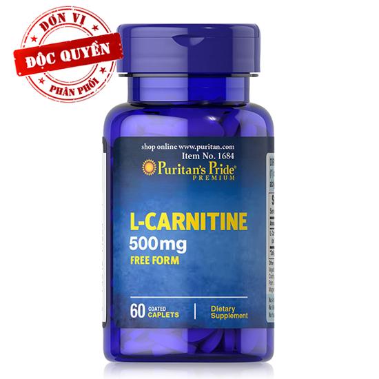 Viên uống hỗ trợ giảm cân không tác dụng phụ, giúp cơ thể săn gọn, hỗ trợ chức năng thận Puritan's Pride L-Carnitine 500mg 60 viên HSD 12/2021