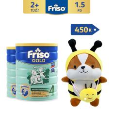 [Freeship toàn quốc] Bộ 2 lon sữa bột Friso Gold 4 1.5kg + Tặng Shiba trị giá 450K