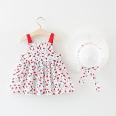 Set váy 2 dây kèm nón đi biển cho bé