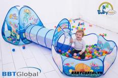 Nhà bóng chui ống 3 khoang đại dương xanh BBT Global 1384 – tặng 50 bóng BBT Global nhựa nguyên sinh an toàn cho bé