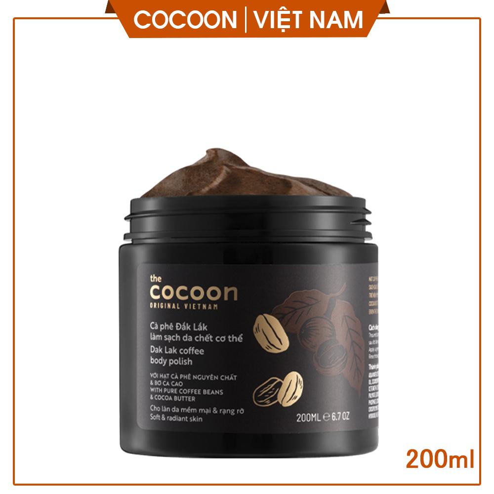[LÀM SẠCH DA ]Cà phê Đăk Lăk làm sạch da chết, giúp sáng da, mịn da cocoon vietnam(Dak Lak coffee body polish) 200ml