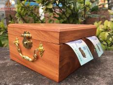 Hộp gỗ đựng tiền tiết kiệm 2 ngăn có khóa (Size Lớn)