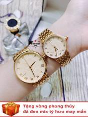 Cặp Đồng hồ đôi nam nữ BAISHUNS dây thép thời thượng ( BS3951 dây vàng mặt vàng ) – TẶNG 1 vòng tỳ hưu phong thuỷ