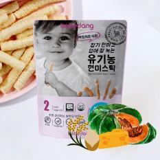 Bánh ăn dặm Organic cho bé – Bánh gạo lứt hữu cơ nhập khẩu Hàn Quốc Bebedang – Phô mai bí đỏ hình que