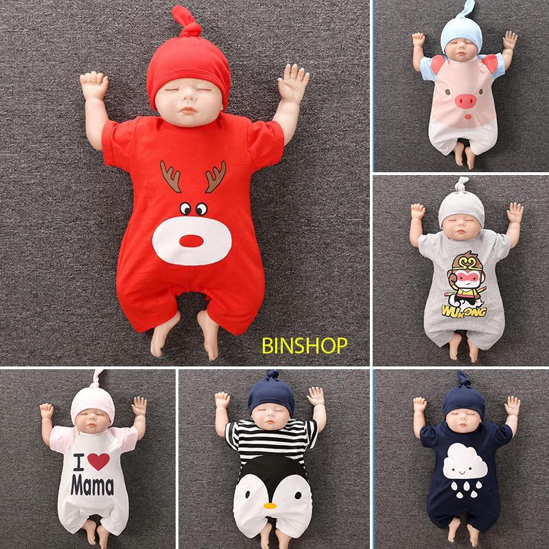 [Vải cao cấp] Body Cộc cho Bé Trai Bé Gái kèm Mũ họa tiết siêu dễ thương từ 0-24 tháng tuổi