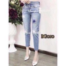 Quần Baggy Jeans nữ Vá Gối thời trang Ms050 (xanh)