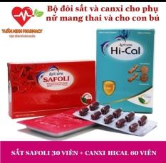 Combo 2 hộp Sắt hữu cơ Avisure Safoli và Canxi tự nhiên Avisure Hical cho phụ nữ mang thai và cho con bú