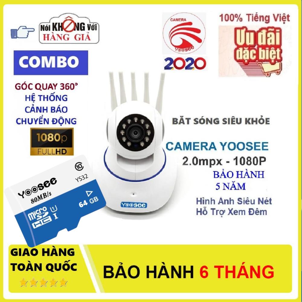 (Tặng Thẻ Yoosee 64GB Trị Giá 450K BH 5 Năm) Camera Wifi Không Dây Yoosee 5 Râu, Siêu Sắc Nét Full HD 1920x1080P, Ghi Âm (Lưu Ý Có 2 Mã Sản Phẩm: Đã Kèm Thẻ Và Không Kèm Thẻ)