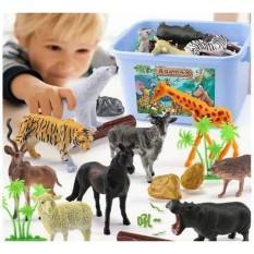 Mô hình đồ chơi động vật cho bé, hộp 58 con chất liệu cao cấp an toàn, mô hình động vật sống động (động vật hoang dã và động vật nuôi + tiểu cảnh cây cối)