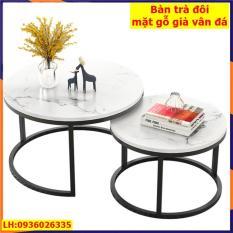 Bàn trà sofa, Bàn trà đôi hình tròn, mặt gỗ vân mây, chân sắt sơn tĩnh điện cao cấp