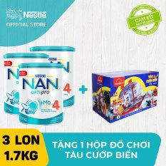 Bộ 3 lon sữa bột Nestle NAN Optipro 4 HM-O cho trẻ trên 2 tuổi 1.7kg + Tặng 1 hộp đồ chơi tàu cướp biển