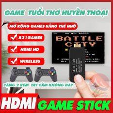 [HOT TREND 2021] Máy Chơi Game Cầm Tay Game Stick HDMI, Tay Cầm Không Dây 2 Người Chơi, Có 821 Games, Gắn Thẻ Nhớ Mở Rộng 64G, game stick mini kết nối tivi, máy điện tử 4 nút cầm tay, máy chơi game tuổi thơ cổ điển, game stick