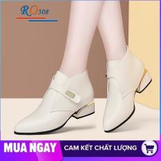 Giày boot nữ cổ thấp 4cm hàng hiệu rosata hai màu đen kem ro308