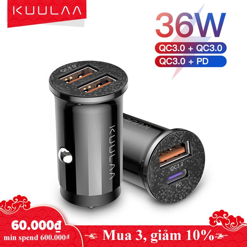 KUULAA Ổ sạc kép nhanh 48W, cổng USB 4.0 QC PD trên xe ô tô cho iPhone Samsung Xiaomi Huawei Redmi – INTL