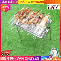 Bếp nướng than hoa TopV VCM thay đổi chiều cao vỉ, Inox không gỉ sét, chống cháy thực phẩm, an toàn sức khỏe, không cần quạt