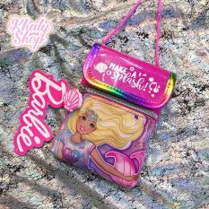 Túi đeo chéo có nắp đậy 2 ngăn hình công chúa Barbie Princess màu hồng bé gái (Thái Lan) – 176BB23811 (10.5x13cm)