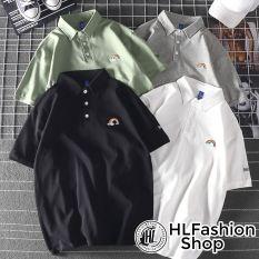 Áo polo thun cổ trụ thêu hình thêu cầu vồng cực đẹp, áo thun size có cổ HLFashion