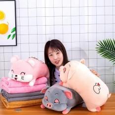 Bộ Gấu Bông Kiêm Gối ôm hình lợn nằm ngủ siêu dễ thương kèm chăn đủ size chất liệu cao cấp