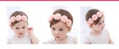 Băng đô 5 bông hoa vải vôn cho bé yêu