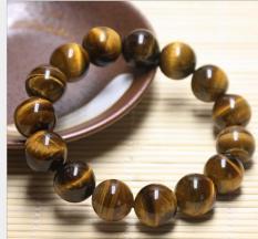Vòng tay đá mắt hổ loại A vàng đen 14 ly-14 hạt