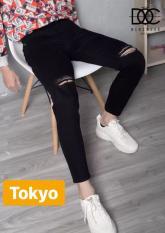 Quần Jean Nam Chất Bò Đen Rách Gối Sành Điệu Nhật Bản Tokyo-50 Cao Cấp -Tokyo Fashion, Đủ Size, Kiểu Dáng Năng Động