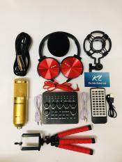 Trọn bộ mic thu âm BM900 Woaichang + Soundcard V10 bluetooh – Tặng kèm tai nghe và kẹp điện thoại