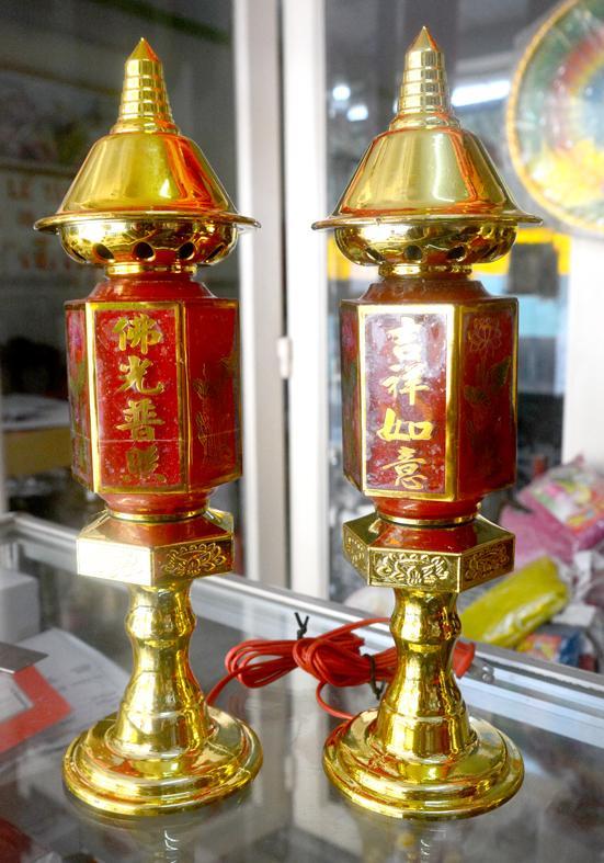 Cặp đèn thờ lục giác cắm điện đặt bàn thờ-Nhiều cỡ