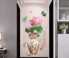 Trang dán tường 3D Bình Hoa Sen lột dán Tranh dán tường, decal dán tường, tranh dán tường 3D, tranh dán tường đẹp, tranh dán tường phòng ngủ, trang trí tường MS 39 – Alanion House