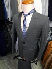 Bộ vest trung niên 2 nút màu xám đậm kaki dày mịn