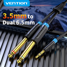 Vention dây kết nối âm thanh 3.5mm to 6.35mm 1/4 Mono Jack to Stereo 1/8 Jack 3.5mm to Dual 6.5mm Aux Cable for Mixer Power Amplifier DVD Player lattop Cell phone Male to Male Audio Cable